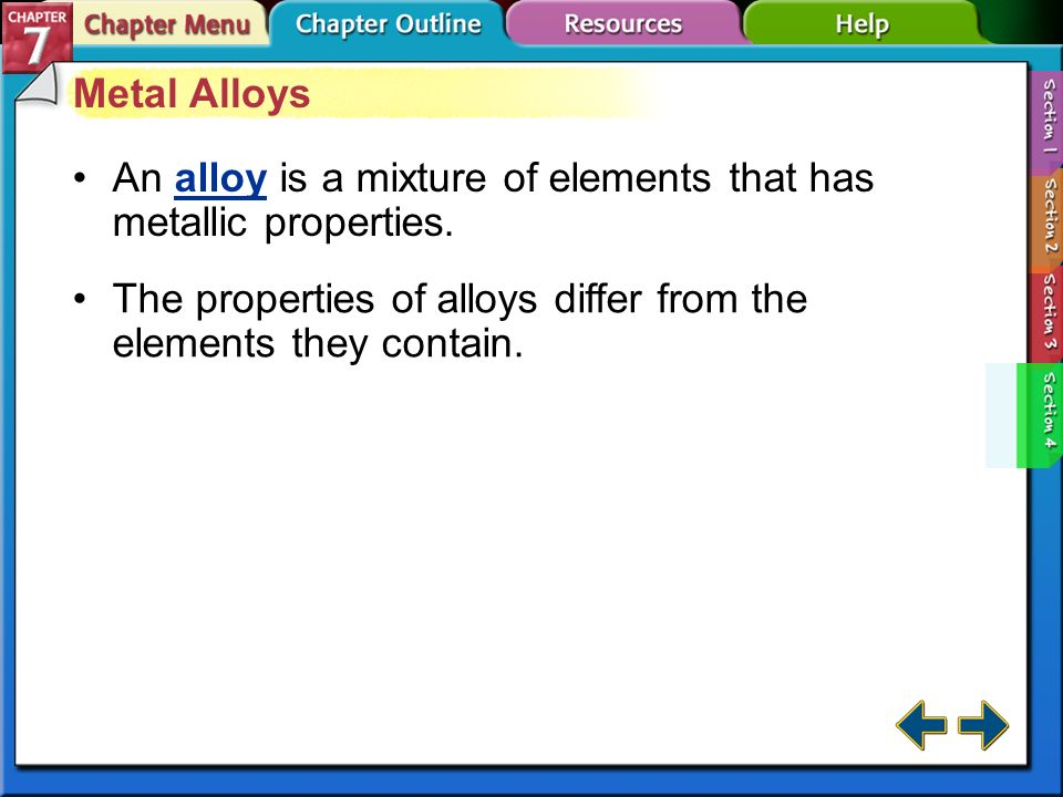 An alloy is a mixture of elements that has metallic properties.
