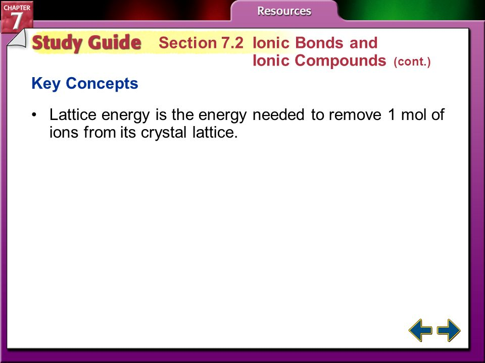 Section 7.2 Ionic Bonds and Ionic Compounds (cont.)