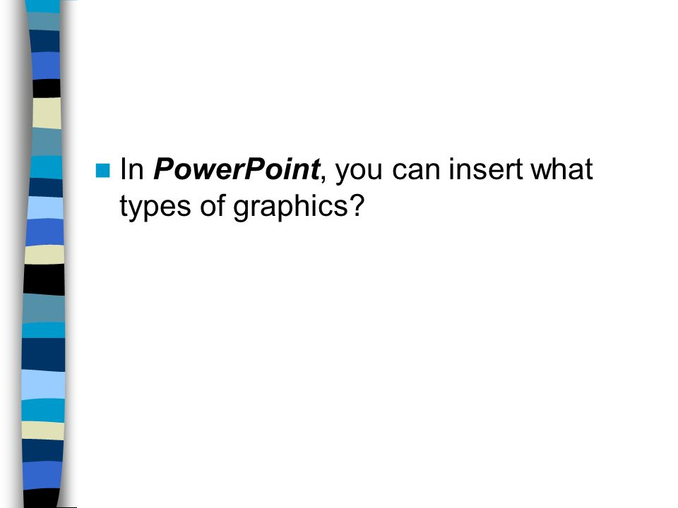 In PowerPoint, you can insert what types of graphics