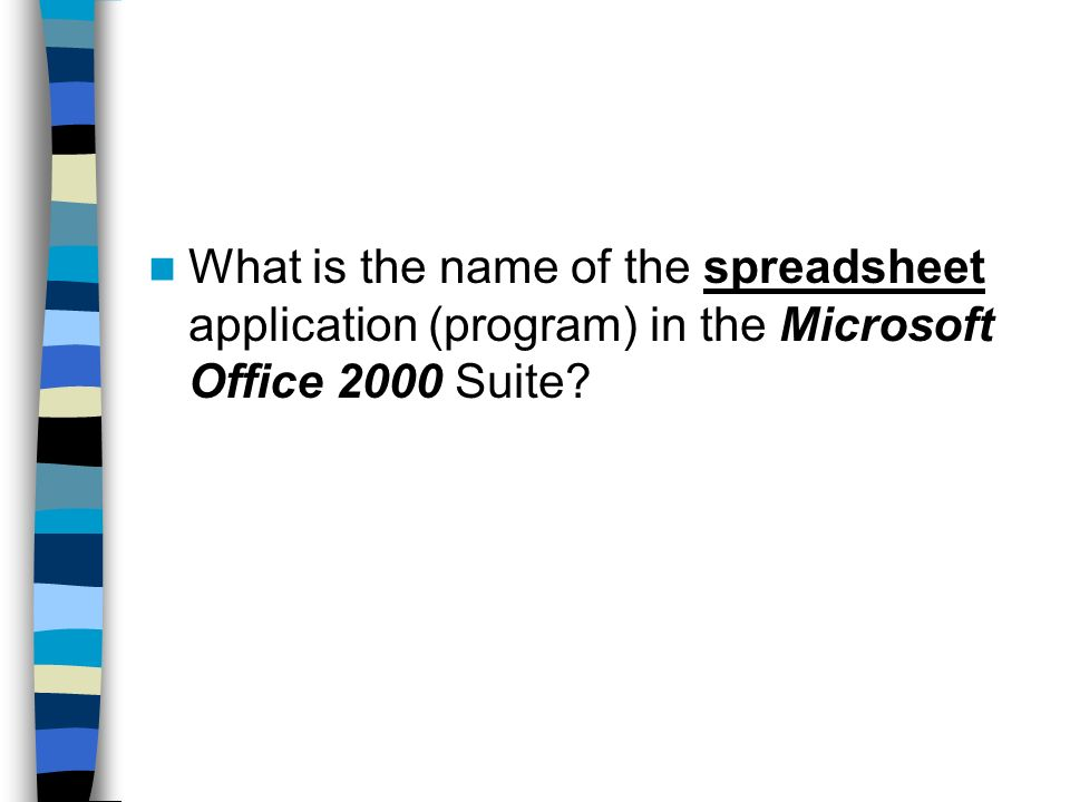 What is the name of the spreadsheet application (program) in the Microsoft Office 2000 Suite