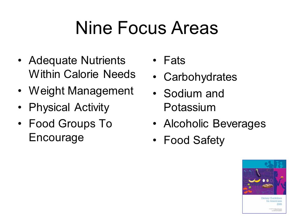 Nine Focus Areas Adequate Nutrients Within Calorie Needs