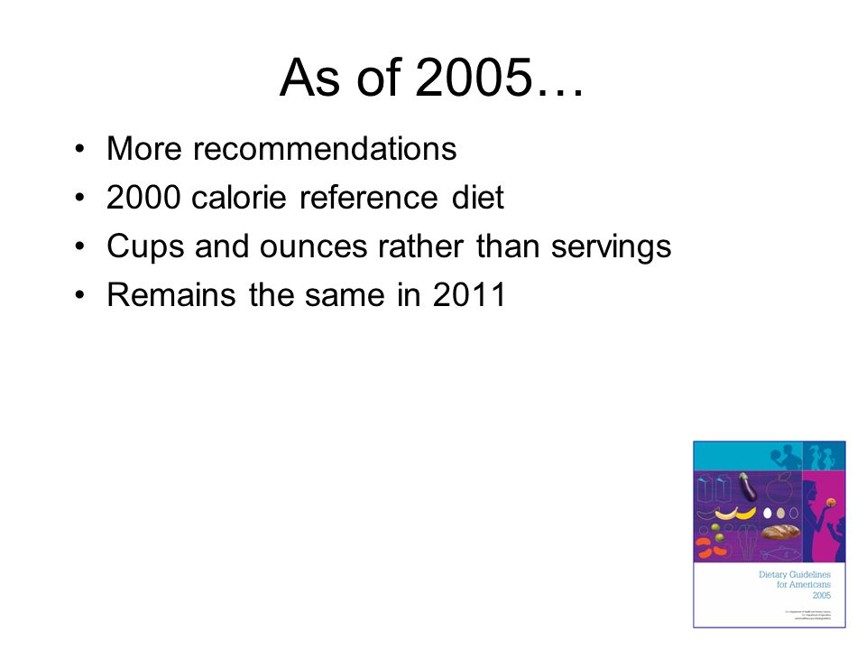 As of 2005… More recommendations 2000 calorie reference diet