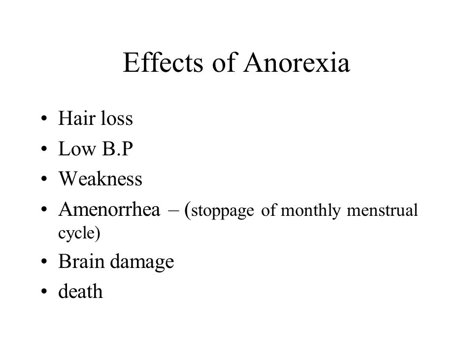 Effects of Anorexia Hair loss Low B.P Weakness