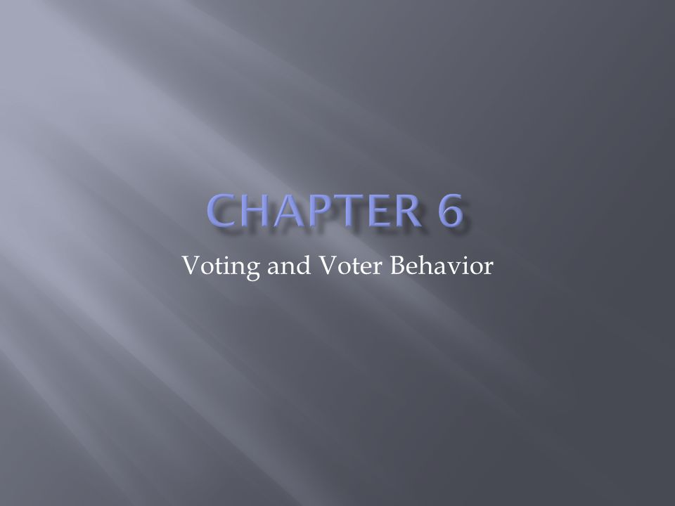 Voting and Voter Behavior