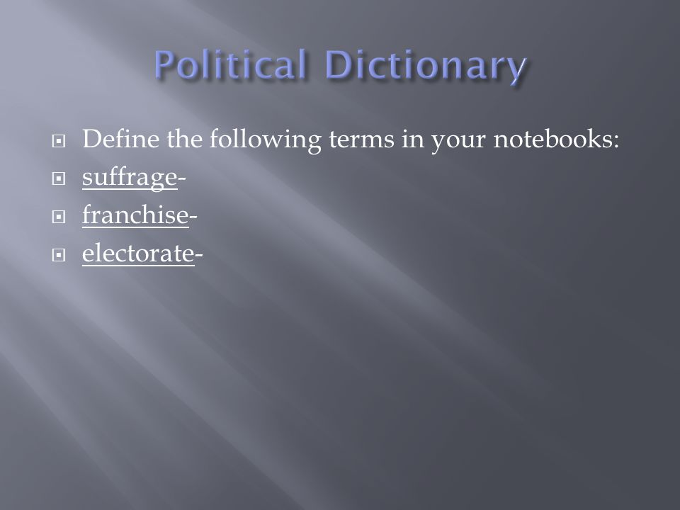 Political Dictionary Define the following terms in your notebooks: