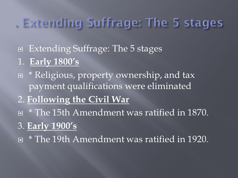 . Extending Suffrage: The 5 stages