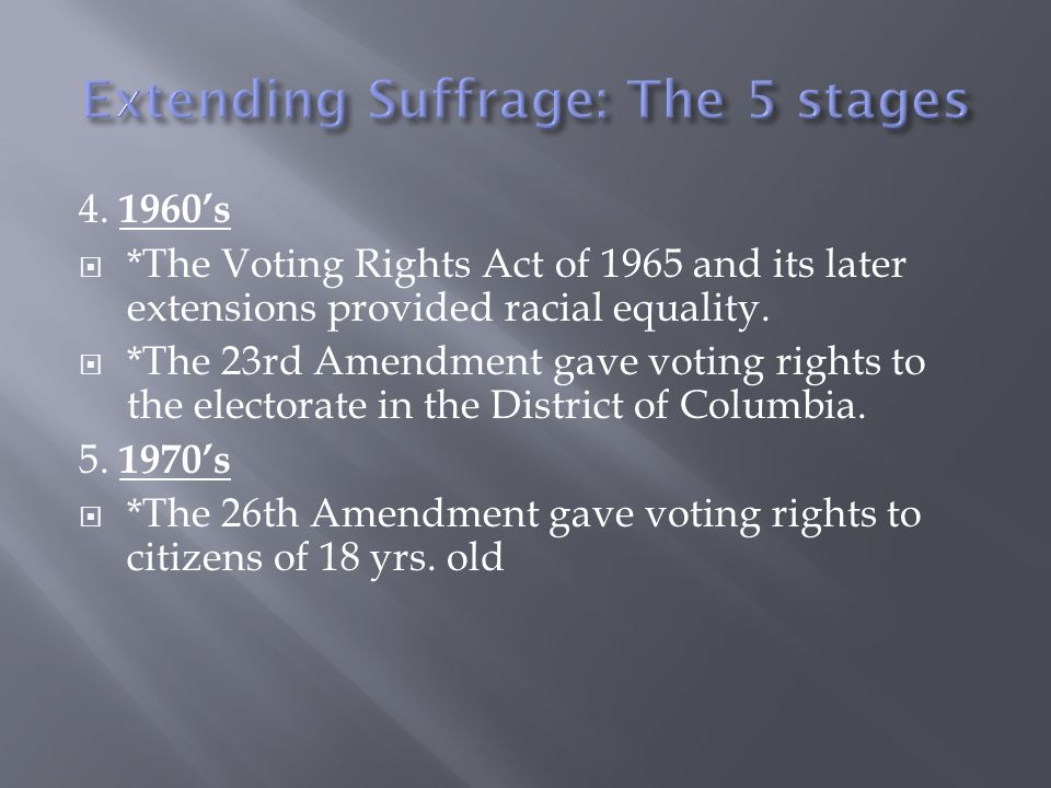Extending Suffrage: The 5 stages