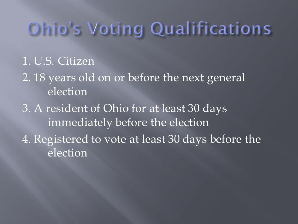 Ohio's Voting Qualifications