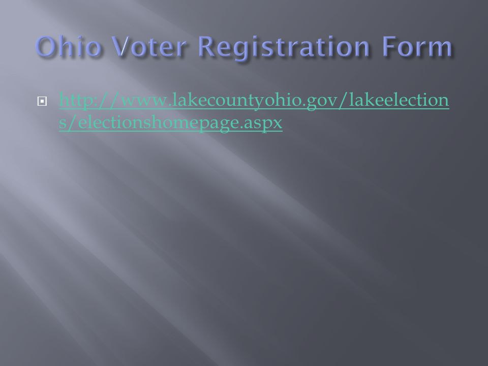 Ohio Voter Registration Form