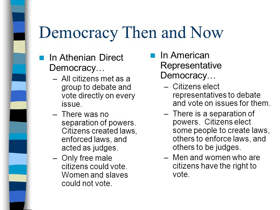 Democracy Then and Now In American Representative Democracy…