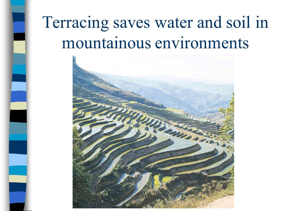 Terracing saves water and soil in mountainous environments