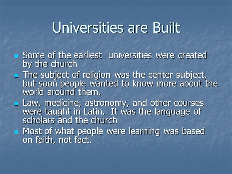 Universities are Built