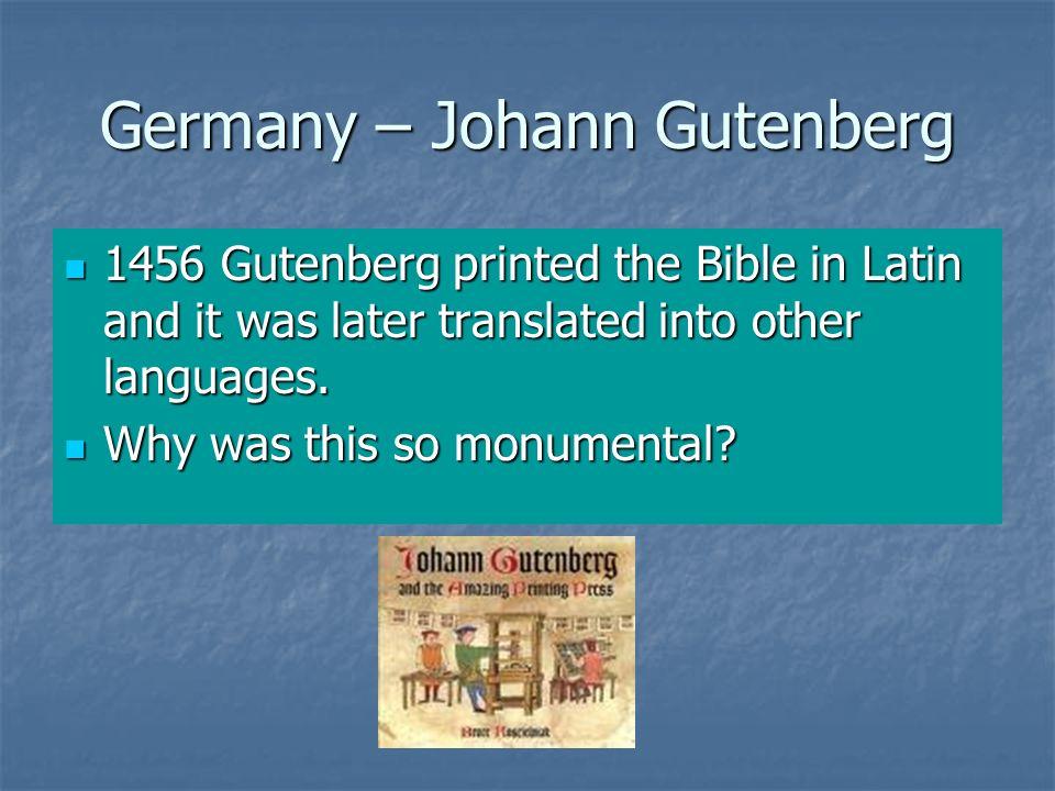 Germany – Johann Gutenberg