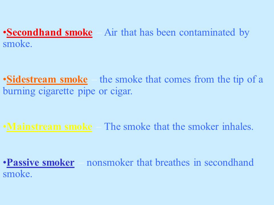 Secondhand smoke – Air that has been contaminated by smoke.