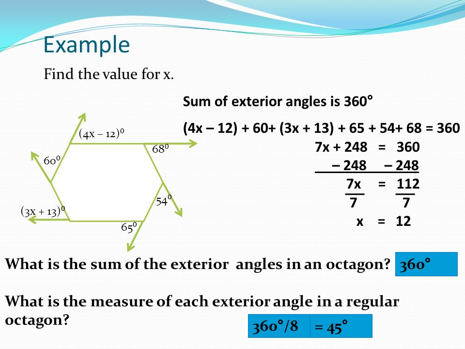 Sum Of Interior And Exterior Angles In Polygons Ppt Download
