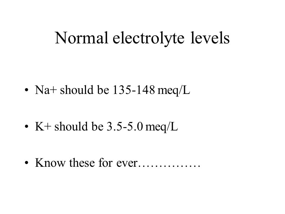 Normal electrolyte levels