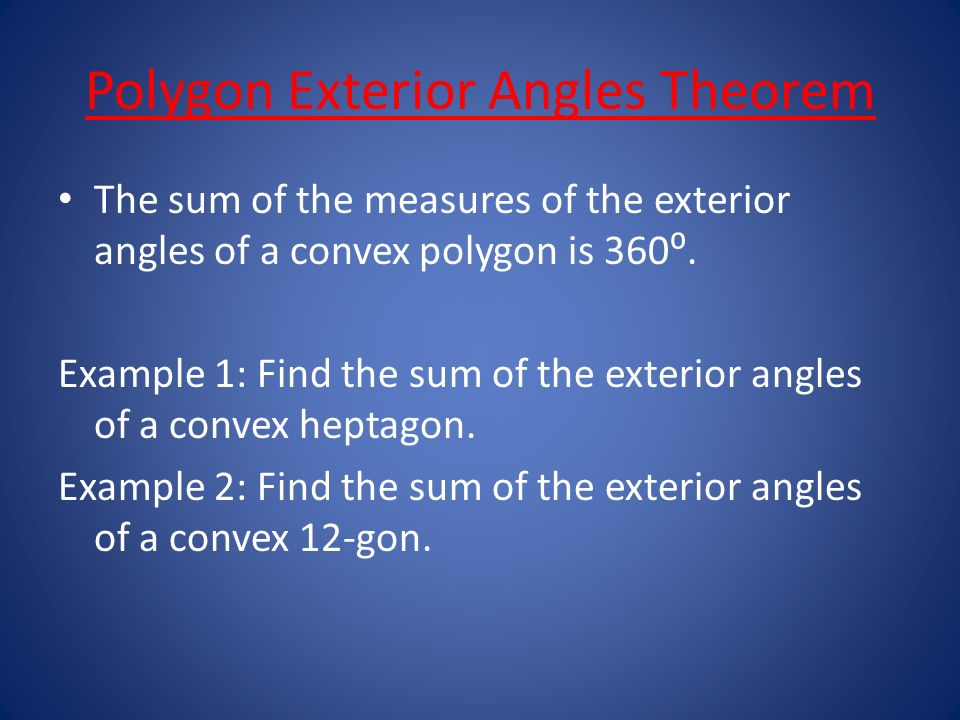 how to find the exterior angle of a hexagon