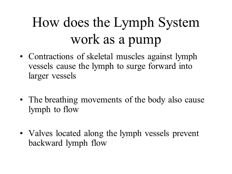 How does the Lymph System work as a pump
