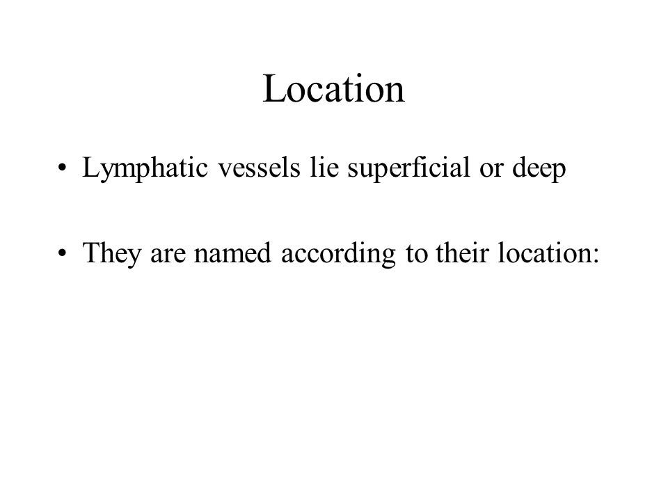 Location Lymphatic vessels lie superficial or deep