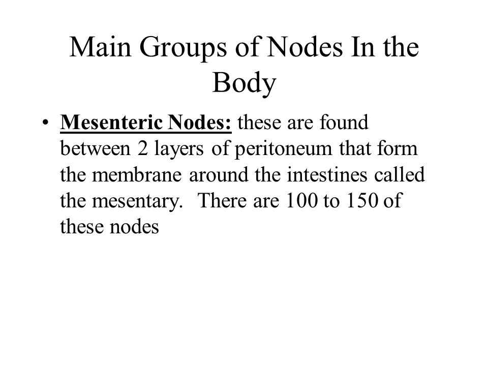 Main Groups of Nodes In the Body