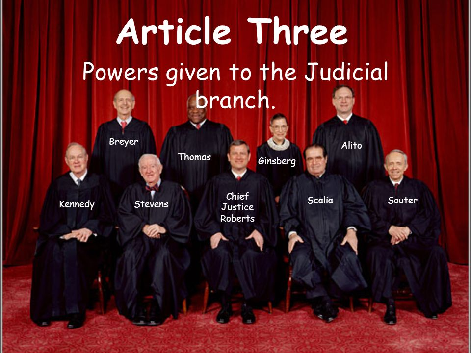 Powers given to the Judicial branch.