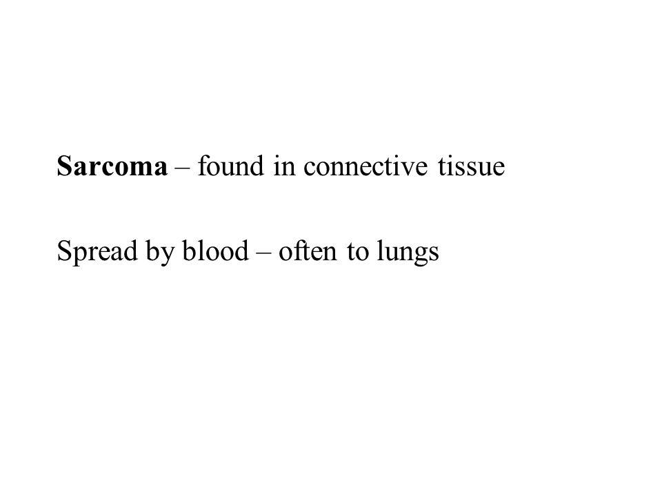 Sarcoma – found in connective tissue