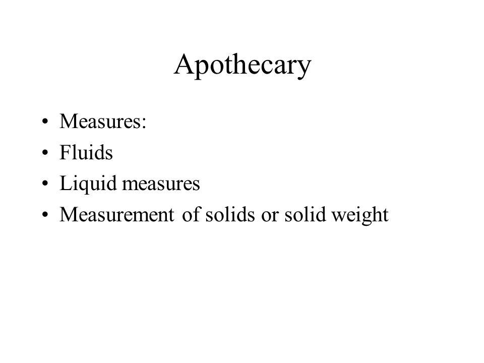 Apothecary Measures: Fluids Liquid measures