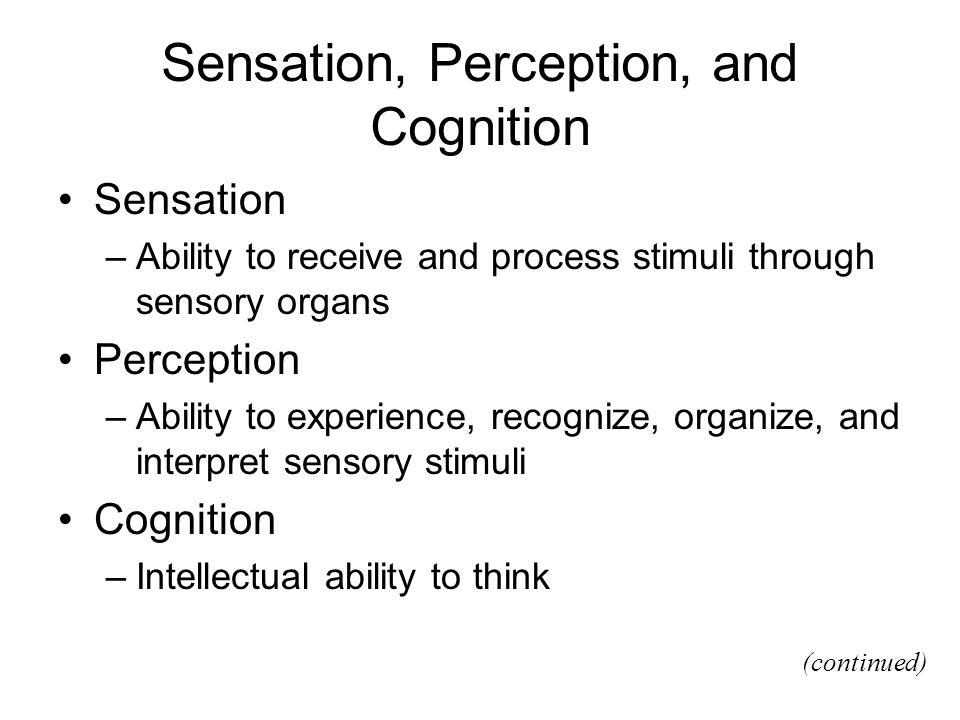 sensory perceptions 4 essay Family health assessment data is collected and analyzed to formulate nursing diagnosis in this essay the in regards to cognitive and sensory.