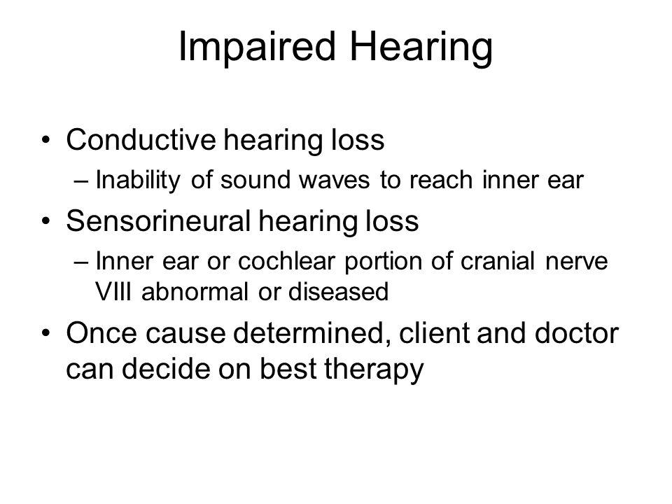 Impaired Hearing Conductive hearing loss Sensorineural hearing loss