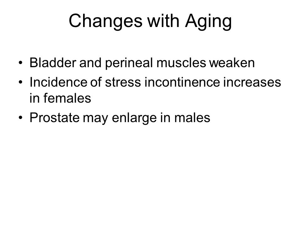 Changes with Aging Bladder and perineal muscles weaken