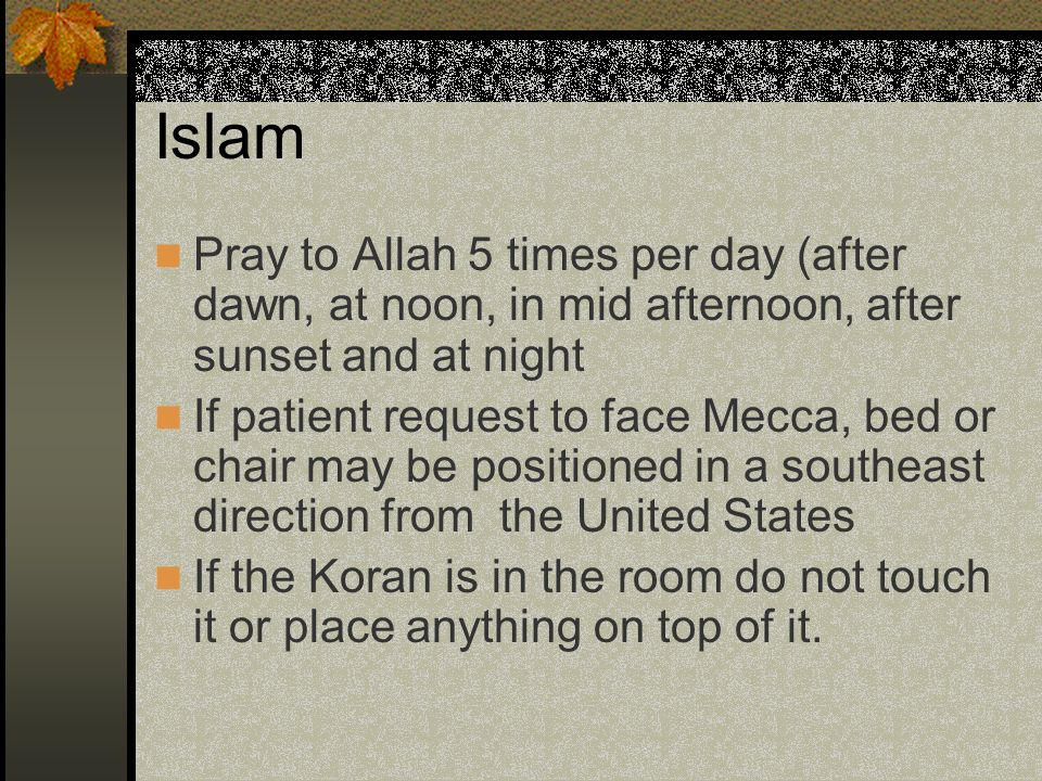 Islam Pray to Allah 5 times per day (after dawn, at noon, in mid afternoon, after sunset and at night.