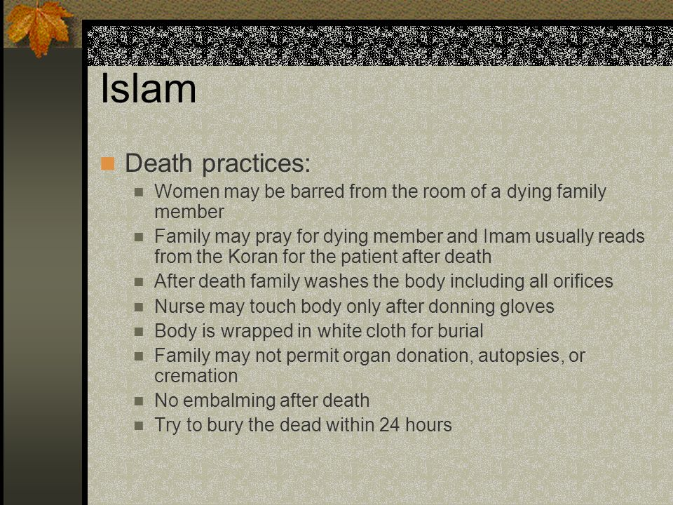 Islam Death practices: