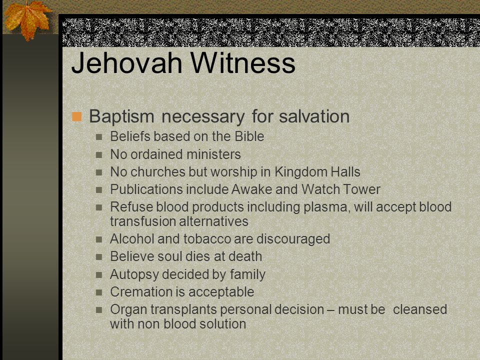 Jehovah Witness Baptism necessary for salvation
