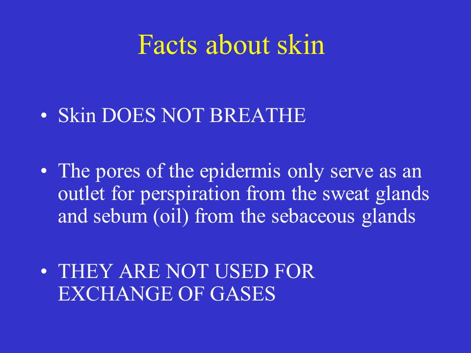 Facts about skin Skin DOES NOT BREATHE