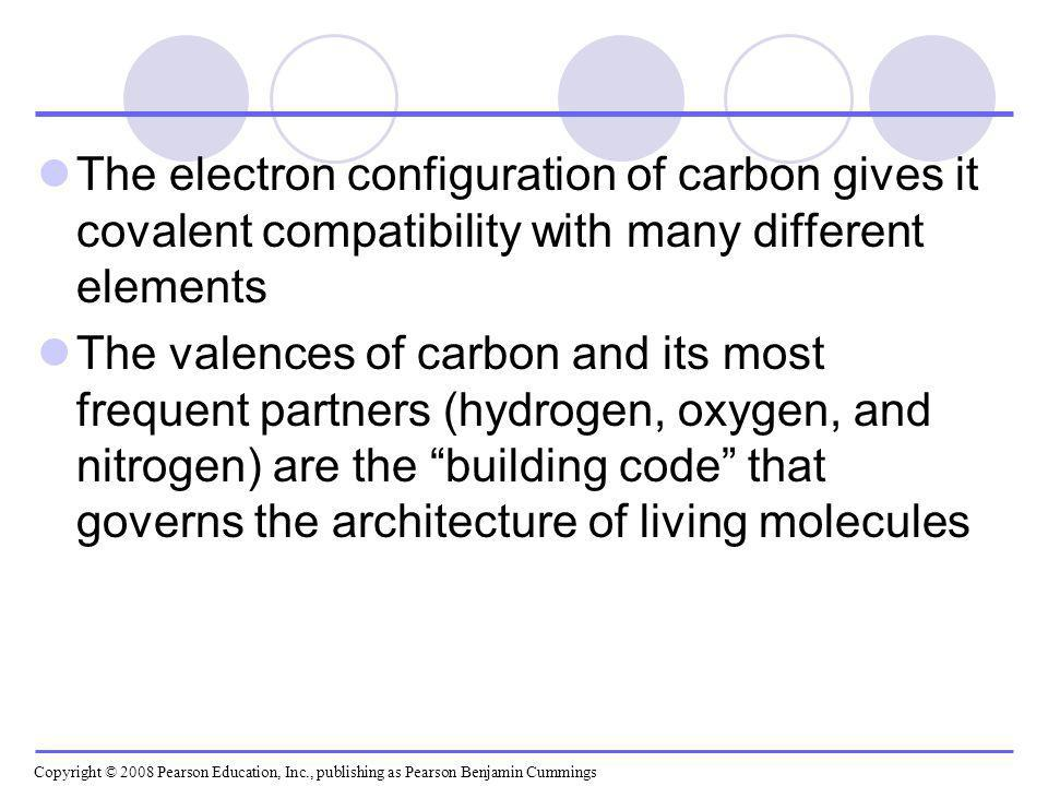 The electron configuration of carbon gives it covalent compatibility with many different elements