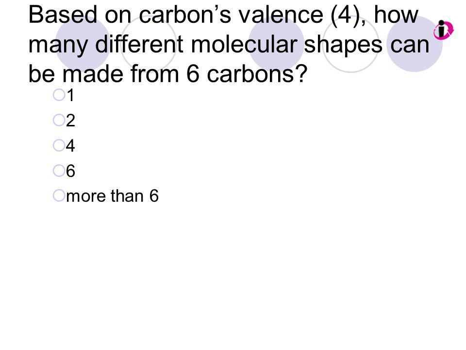 Based on carbon's valence (4), how many different molecular shapes can be made from 6 carbons