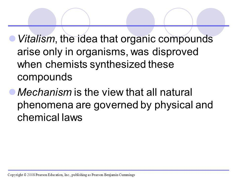 Vitalism, the idea that organic compounds arise only in organisms, was disproved when chemists synthesized these compounds