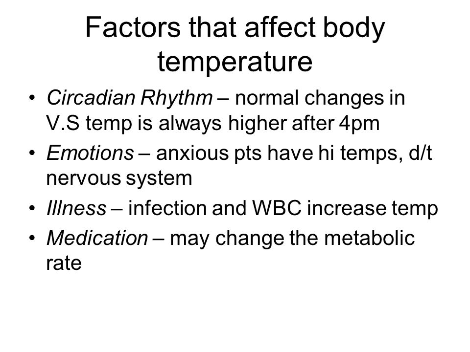 Factors that affect body temperature