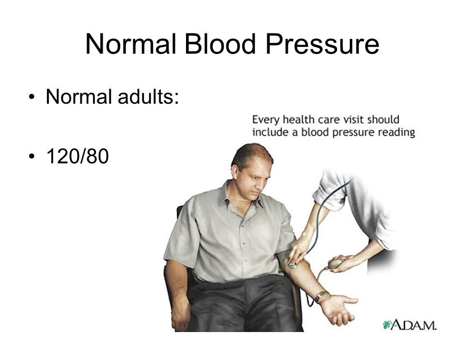 Normal Blood Pressure Normal adults: 120/80