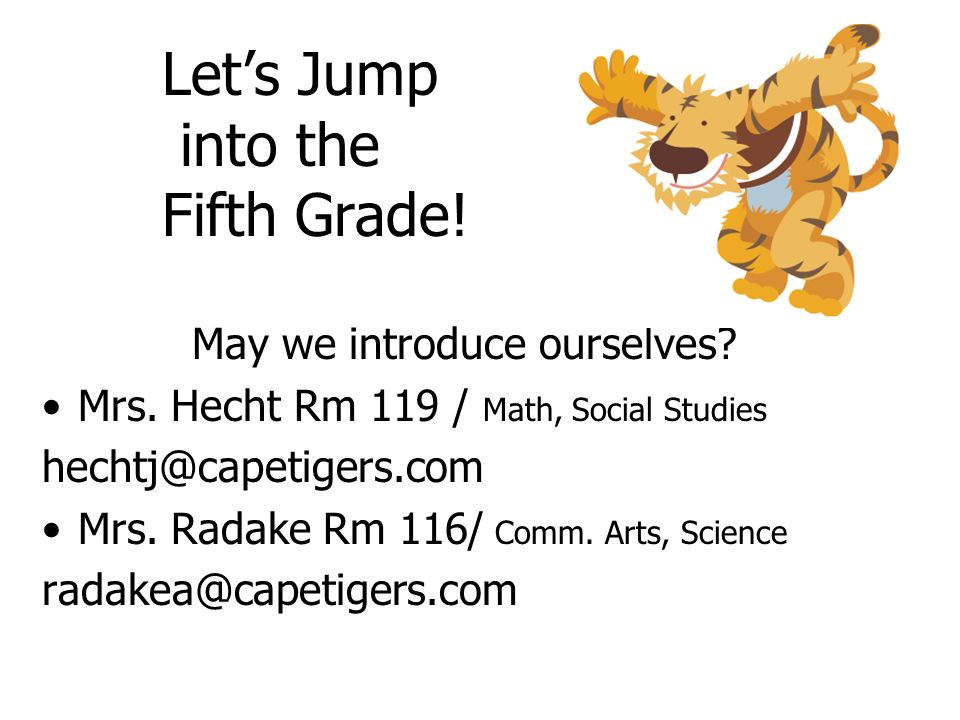 Let's Jump into the Fifth Grade!