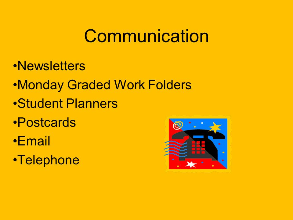 Communication Newsletters Monday Graded Work Folders Student Planners