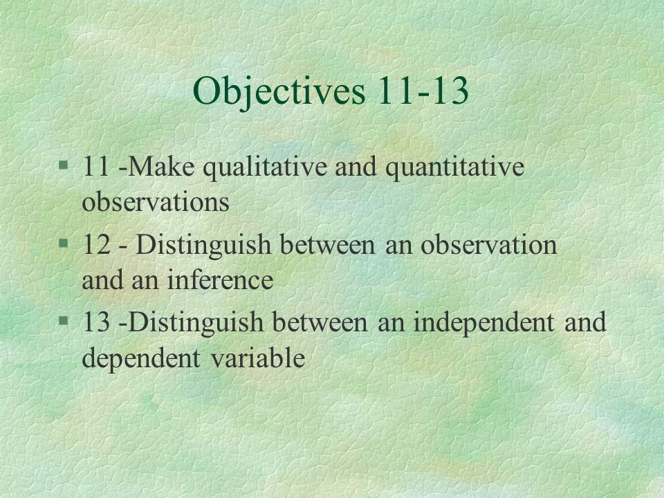 Objectives 11-13 11 -Make qualitative and quantitative observations