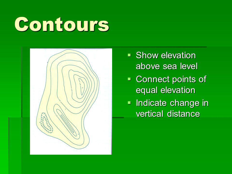 Contours Show elevation above sea level