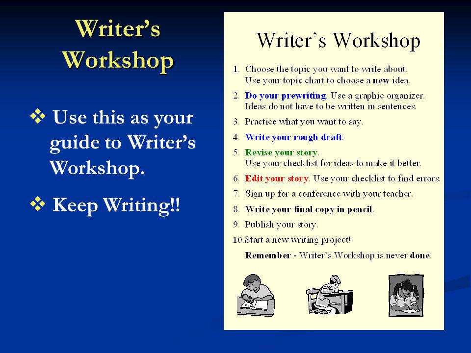 Writer's Workshop Use this as your guide to Writer's Workshop.