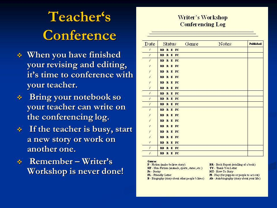 Teacher's Conference When you have finished your revising and editing, it's time to conference with your teacher.