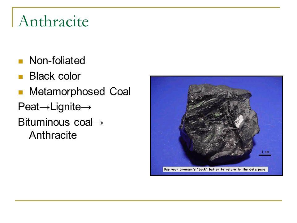 Anthracite Non-foliated Black color Metamorphosed Coal Peat→Lignite→