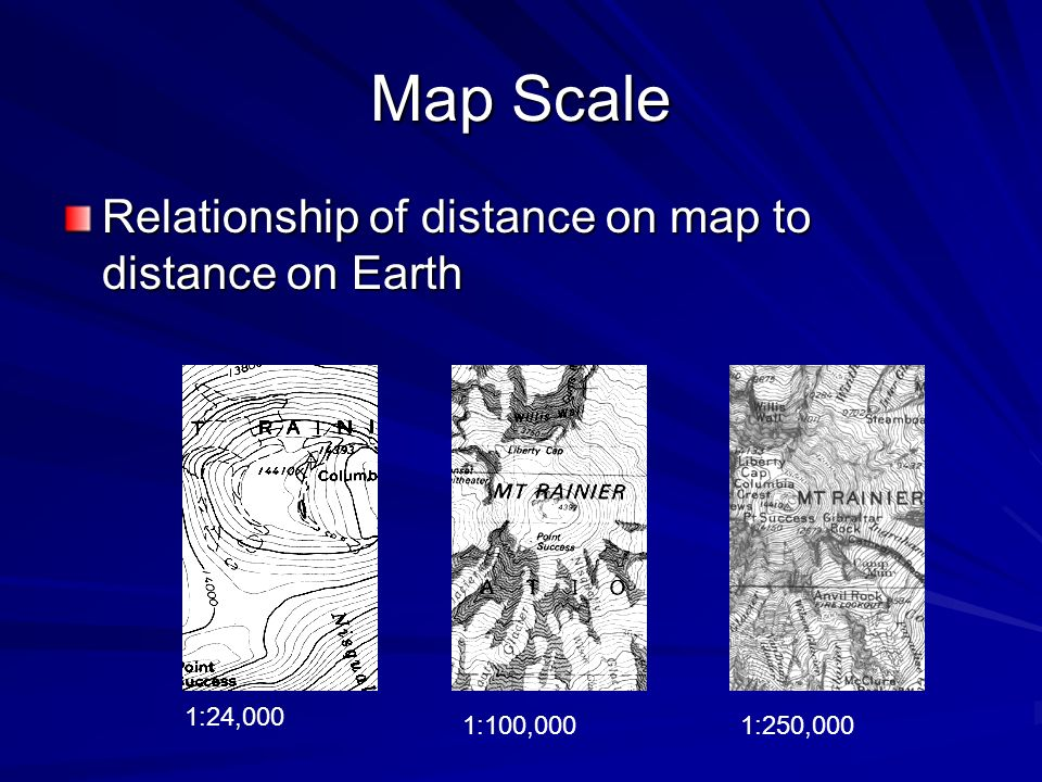 Map Scale Relationship of distance on map to distance on Earth