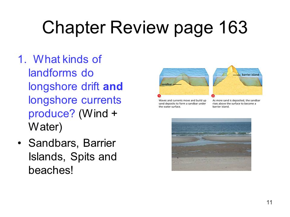Chapter Review page 163 1. What kinds of landforms do longshore drift and longshore currents produce (Wind + Water)