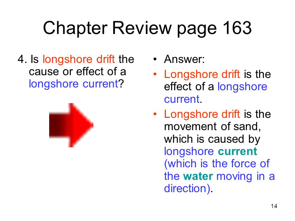 Chapter Review page 163 4. Is longshore drift the cause or effect of a longshore current Answer: