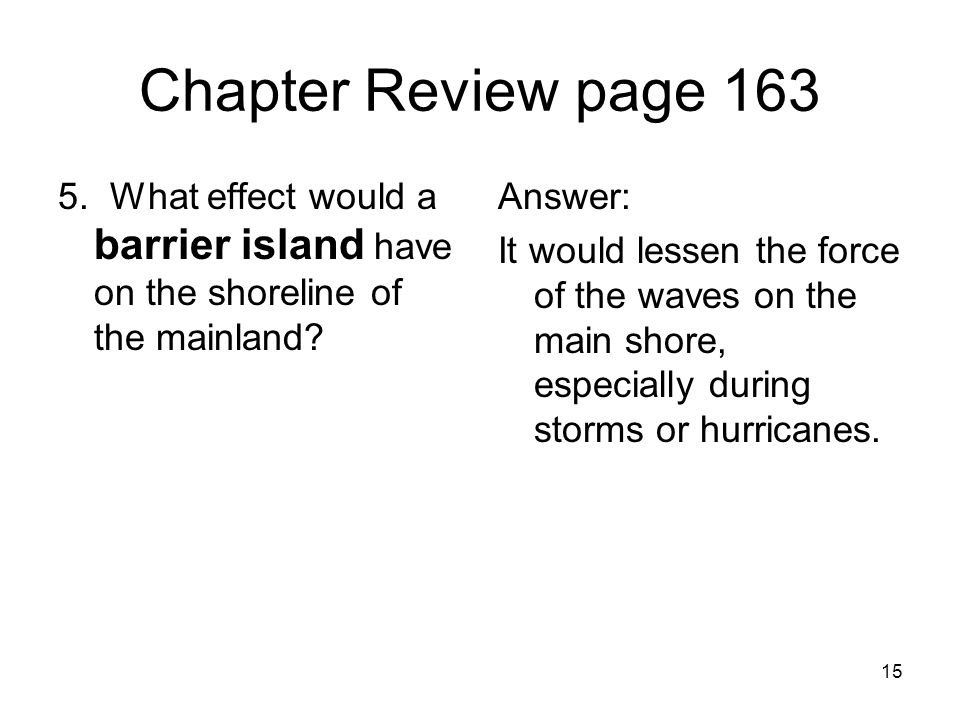 Chapter Review page 163 5. What effect would a barrier island have on the shoreline of the mainland
